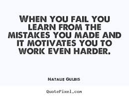 natalie gulbis picture quotes quotepixel sayings about motivational when you fail you learn from the mistakes you made