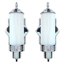 this is an excellent original pair of art deco sconces the chrome frames hold the art deco wall lightsart deco lightingmodern