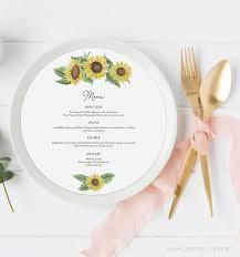 Emma Sunflower Menu Card Template Round Menu For Wedding Sunflower Wedding Menu Barn Wedding Menu Round Menu Cards Instant Download