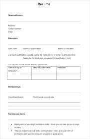 Resume Blank Templates Free Blank Resume Template Templates Samples