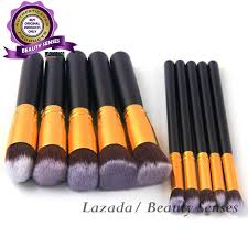 kabuki 10 pcs professional soft make up brush set black gold