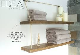 above our bath we had a blank space which cried out for chunky wooden shelves