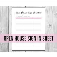 sign in sheet pdf open house sign in sheet printable pdf