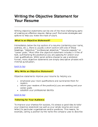 Writing Objective For Resume Tips For Resume Objective Resume