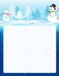 Colorful Winter Border Frame With Two Snowmen