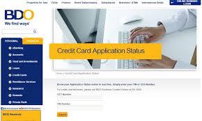 bdo credit card application status