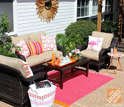 patio decor ideas wicker outdoor furniture with pink and orange accents diy outdoor rug