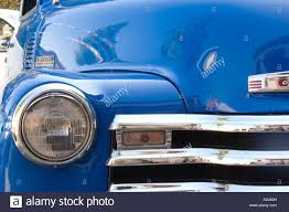 Vintage blue Chevy truck with chrome grille and headlight Stock ...