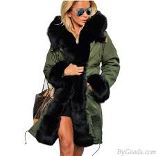 unique big fur collar star love hooded jacket long winter coat windbreaker