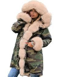 aofur las army parka coat winter warm lined fur jacket womens style hood parker uk 8