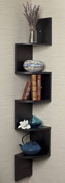 Decorations:Simple Living Room Wall Shelves On The Red Wall Black Corner  Zig Zag Wall