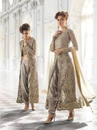 Punjabi Suit With Long Jacket Design Gray Net Designer Jacket Style Suit 70001 Dresses Fashion