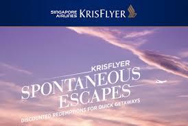Sia Redemption Chart Singapore Airlines Krisflyer Spontaneous Escapes Redemption