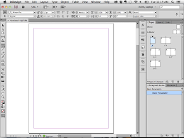 indesign with the frame on and several panels docked to the right side of