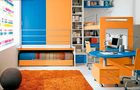 colorful loft beds with desk as an enhancing part of a small room colorful kids