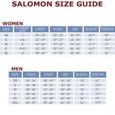 salomon size charts salomon fantasy womens jacket made2ski