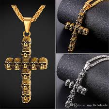 whole u7 trendy skull cross crucifix pendant necklace stainless steel gold plated rope chain for men gift cross jewelry gp2495 black pendant