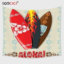 cutom tapestry wall hanging hawaiian gifts aloha hawaii surfboards tiki tropical flowers orchids surf beach volcano indian