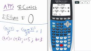 conic sections ellipse vertical major axis app ti 84 calculator