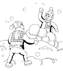 Winter Kleurplaten Sneeuwbal Gevecht
