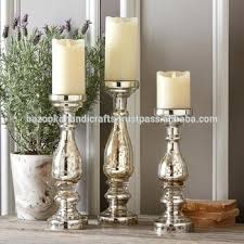 mercury silver glass candle holder antique decorative pillar holders tall