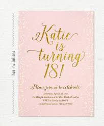 Free 18th Birthday Invitation Templates Amazing Pink Gold Glitter 48th Birthday Invitation For Girl Modern Teen