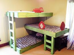triple bunk bed plans both lateral stacked and l shaped kids rooms