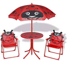 mewmewcat <b>3 Piece Kids</b>' <b>Garden</b> Bistro Set with Parasol Garden ...