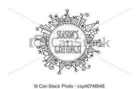 Seasons Greetings Christmas Vector Modern Christmas Doodle Vector