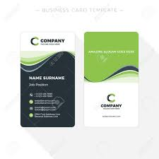 Green Card Template Vertical Double Sided Business Card Template With Abstract Green