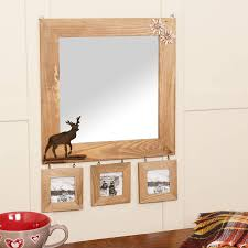 wood wall mirrors. Wooden Wall Mirror With Deer Detail And Photo Frames Wood Mirrors O