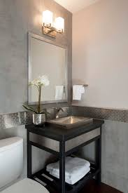 modern powder room with hardwood floors powder room soapstone counters console sink