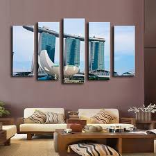 5pcs booking pool singapore wall painting for home decor oil painting wall art print canvas