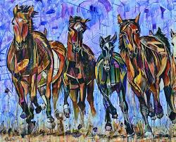 galloping sunlight colorful abstract horse paintings