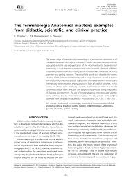 the terminologia anatomica matters examples from didactic the terminologia anatomica matters examples from didactic scientific and clinical practice pdf available