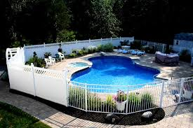 Decorative Pool Fence White Privacy Fence With White Metal Fence Landscaping Ideas