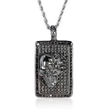 dt190 a skull dog tag rhodium plated sterling silver with black diamonds designed