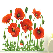 red poppy wall art poppy wall decals removable wall stickers home decor art flower vinyl mural red poppy wall art  on red poppy metal wall art with red poppy wall art poppy wall art stickers large red poppy field