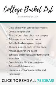 College Bucket List 75 Things Students Should Do College