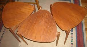 set of 3 danish modern teak pick shaped nesting tables mid century