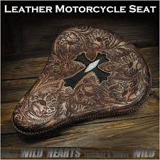 cross carved leather single solo saddle seat motorcycle harley davidson stingray wild hearts leather silver id bc3572