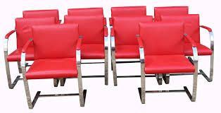 set of 10 knoll style chrome leather dining chairs 1 of 5