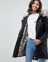 women s asos parka with snow leopard faux fur liner r92x1
