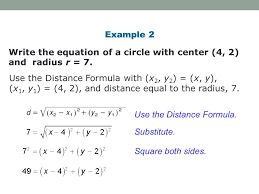 write the equation of a circle with center 4 2 and radius r