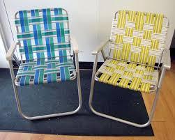 pair retro vtg vintage folding aluminum lawn chair webbed web strap patio lounge