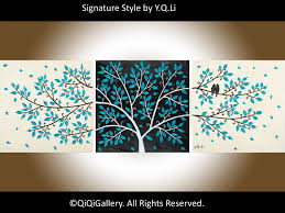 Romantic Abstract Painting Landscape Painting Impasto wall hanging Palette  Knife Love Birds Painting Tree Painting
