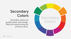 Secondary colors are purple, green, and orange.