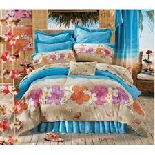 Hawaiian Hibiscus Queen forter Set 4 Piece Bedding