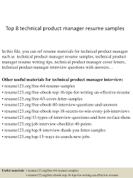 Top 8 technical product manager resume samples In this file, you can ref  resume materials ...