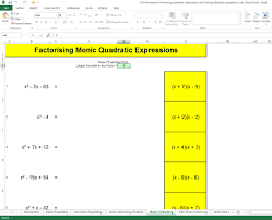 screen capture of excel workbook for developing factorising quadratic skills